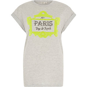 Grey neon Paris print