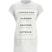 Grey slogan foil print oversized t-shirt