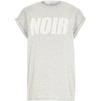 Grey noir slogan print oversized t-shirt