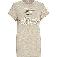 Beige foil love print oversized t-shirt