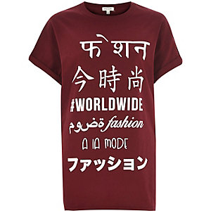 Red symbol print oversized t-shirt
