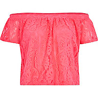 Pink lace bardot top