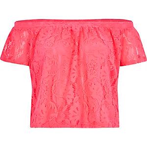 Pink lace bardot top