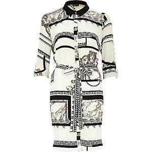 White crepe baroque print shirt dress