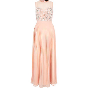 Pink sequin embellished maxi prom dress