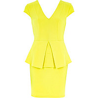 Yellow peplum bodycon dress