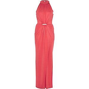Coral drape front maxi dress