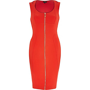 Red zip front bodycon pencil dress