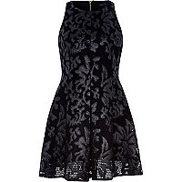 Black leather-look jacquard skater dress