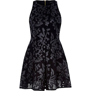 Black leather-look jacquard skater dress