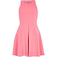 Bright pink textured crepe skater dress