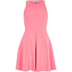 Bright pink textured crepe skater dress