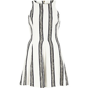White tweed stripe skater dress