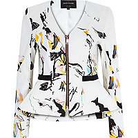 White abstract print peplum jacket