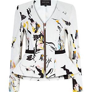 White abstract print peplum jacket