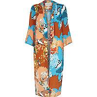 Orange satin Oriental print longline kimono