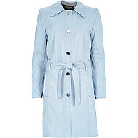 Blue leather-look midi trench coat