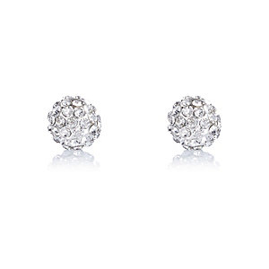 Silver tone crystal ball stud earrings