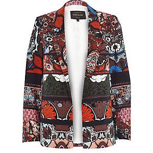Brown 70s floral print blazer