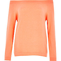Orange long sleeve bardot top