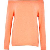 Orange long sleeve bardot top