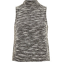Grey boucle sleeveless turtle neck top
