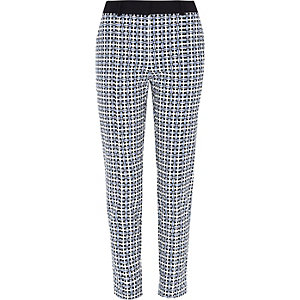 Blue textured geo print slim trousers