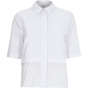 White plain boxy shirt