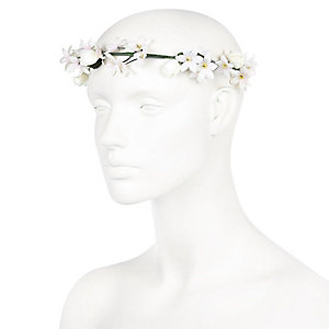 Cream flower hair garland