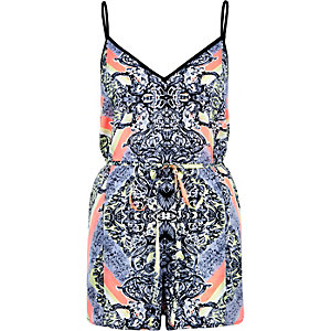 Yellow printed V-neck cami playsuit