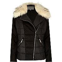 Grey padded biker winter jacket