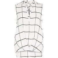 White check V-neck blouse