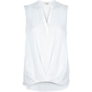 White V-neck sleeveless blouse