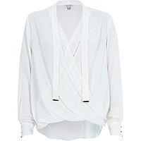 Cream long sleeve pussybow wrap blouse