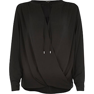 Black tie neck wrap front blouse