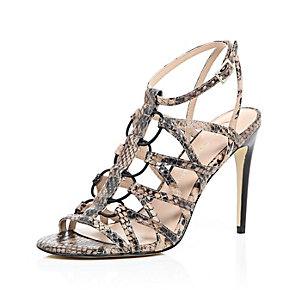 Beige leather snake print caged heels