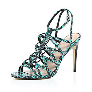 Turquoise leather snake print caged heels