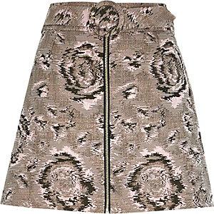 Khaki woven print A-line skirt