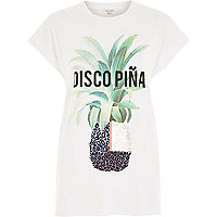 White pineapple print fitted t-shirt