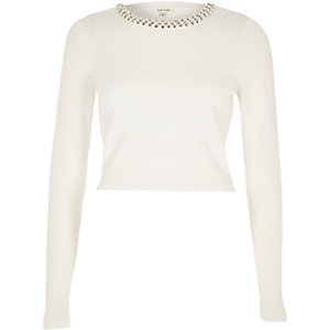 White pearl trim knitted crop top