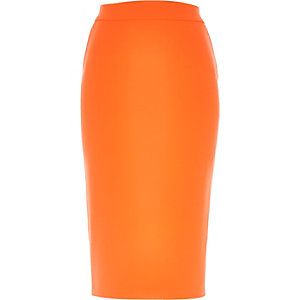 Orange crepe pencil skirt