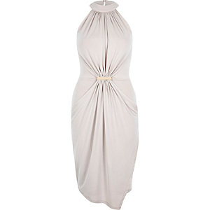 Light pink waisted drape dress