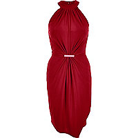 Dark red 70s waisted drape dress