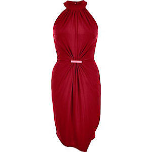 Dark red waisted drape dress