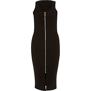 Black jersey zip front bodycon midi dress