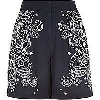 Navy bandana print smart high waisted shorts
