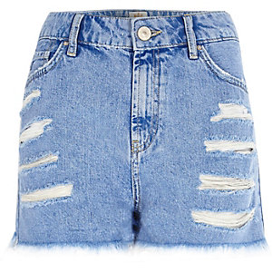 Blue raw hem high waisted Darcy denim shorts
