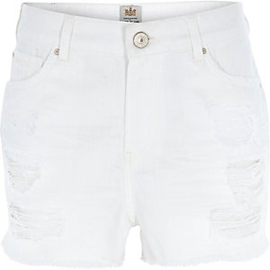 White ripped high waisted Darcy shorts