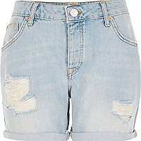 Light wash ripped ultimate boyfriend shorts