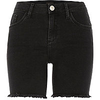 Washed black frayed Amelie denim shorts